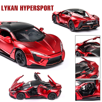 Diecast 1:32 Lykan Hypersport Alloy Toy Car Model Toy Sound Light Pull Back Car Toy Model 6 Doors Can Opened Toys For Children 1 32 scale car model x90 tesla alloy 1 32 diecast model car w sound