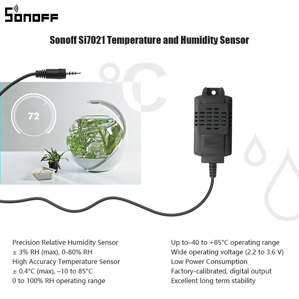 Itead SONOFF Sensor Si7021 AM2301 Temperature Humidity Sensor DS18B20 Sensor With 5M Extension Cable AL560 For Sonoff TH10/TH16 6