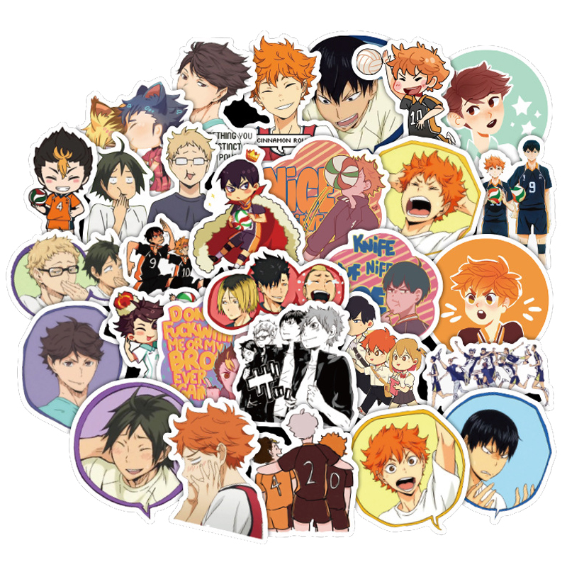 50PCS/set Japan Anime Volleyball Teenager Haikyuu Stickers Waterproof For Kids DIY Guitar Laptop PS4 Skateboard Sticker