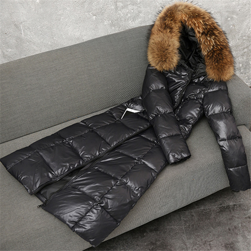Winter Women Big Fur Collar Down Jacket Padded Warm Thick White Duck Down Coat Female Long Parka Outerwear Plus Size 6XL AB1624