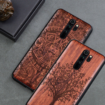 Carved Wood Case For Xiaomi redmi note 8 Pro Shockproof Case TPU Cover For Xiaomi Redmi note 8 pro Case Wood Shell Redmi note 9