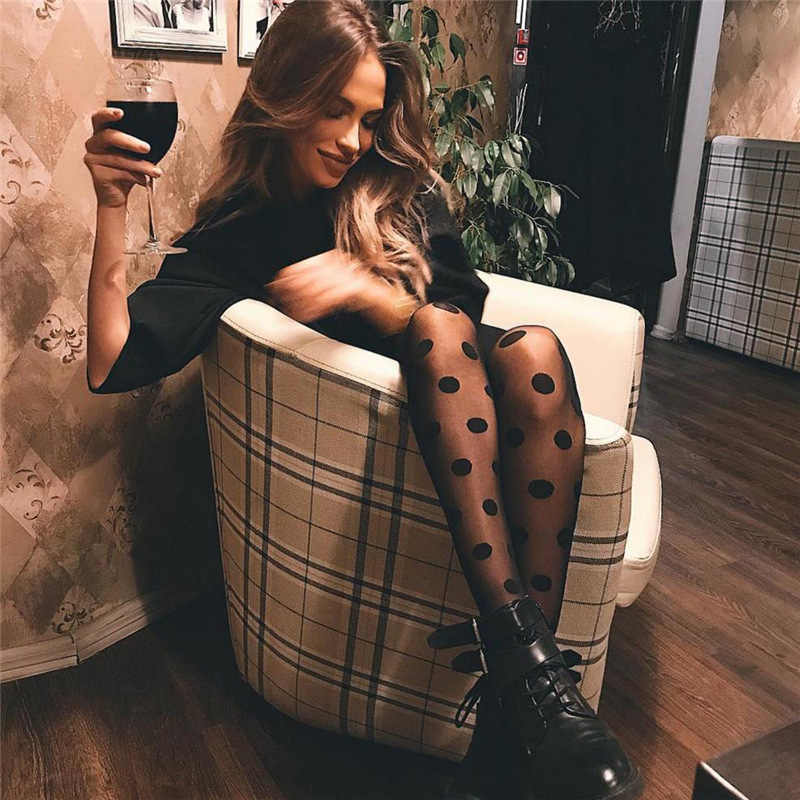Stile del giappone Dot Fantasia Delle Donne Collant Moda Dolce Ragazza Nera Sexy Collant Calza Femminile Trasparente Calze di Seta