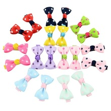 12pcs/set Baby Girl Solid Bow Hair Pin With Fully Wrapped Bowknot Clip Safety Alligator clip Kids Accessories