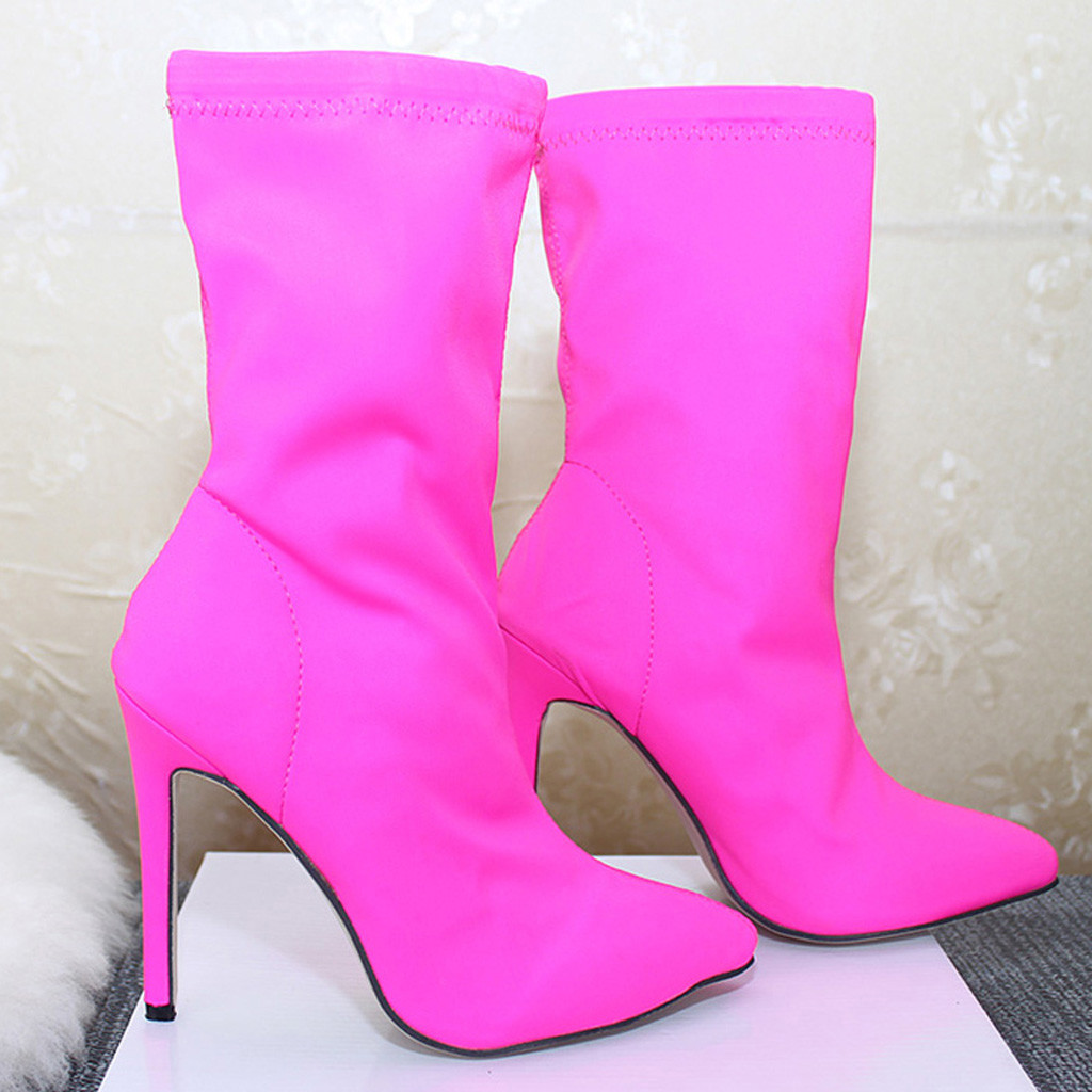 New Womens Faux Suede Candy Ankle Boots High Heels Pointy TOe Zipper Shoes Pumps