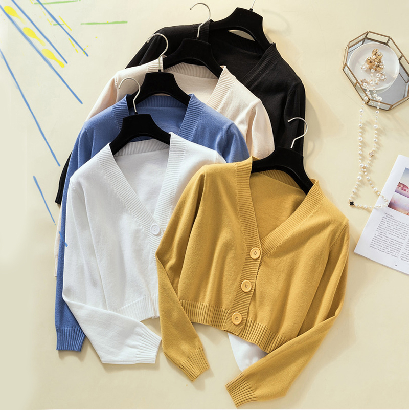 2019 Autumn Winter Knitted Yellow Black Cardigan Women Button Up V Neck  Button Cute Kwaii Crop Top Sweater Knitting  Streetwear