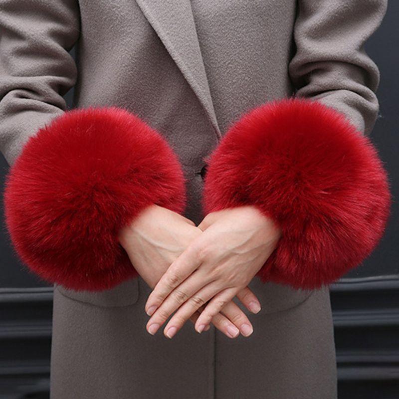 Faux Rabbit Fur Thicken Women Winter Warm Wrist Gloves Fake Cuff Oversleeve Arm 449F