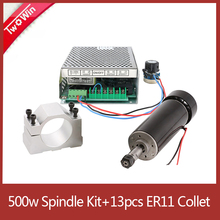 CNC Spindle 500W Brushless Spindle Motor 220V power supply 0.5kw Spindle Motor 52mm Clamps ER11 Collet Chuck  For PCB Engraving