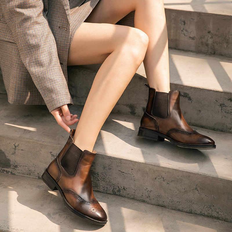 BeauToday Chelsea çizmeler kadın hakiki inek deri Brogues çizmeler kare ayak Wingtip bayan ayak bileği ayakkabı el yapımı 03629