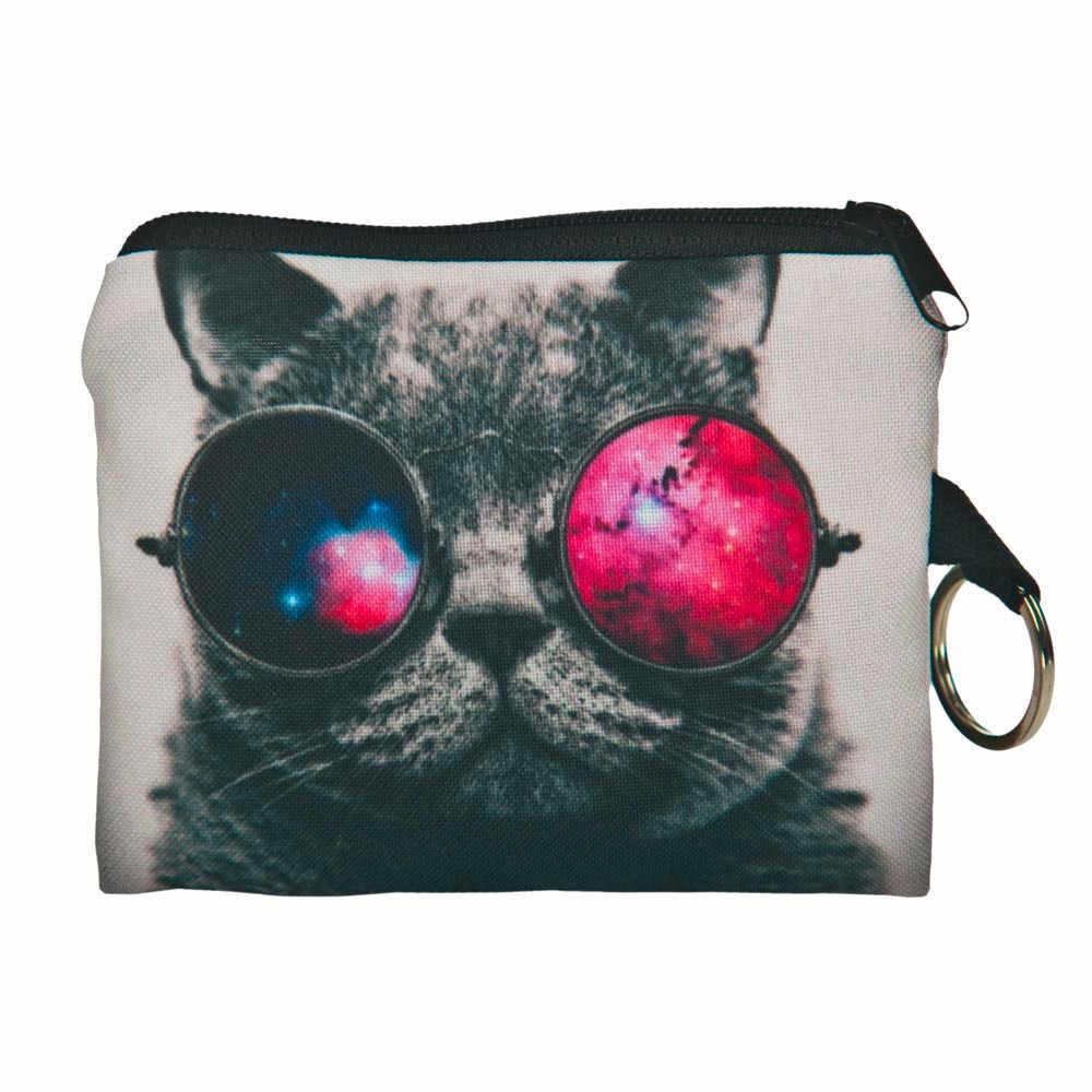 Nouveau mignon chat visage fermeture éclair porte-monnaie femme fille impression changement enfant sac à main sac de maquillage pochette portefeuille téléphone clé sacs
