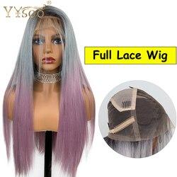YYsoo-perruque Full Lace synthétiques #2/gris/violet, 3T, perruque japonaise en Fiber résistante à la chaleur, Baby Hair pour femmes noires