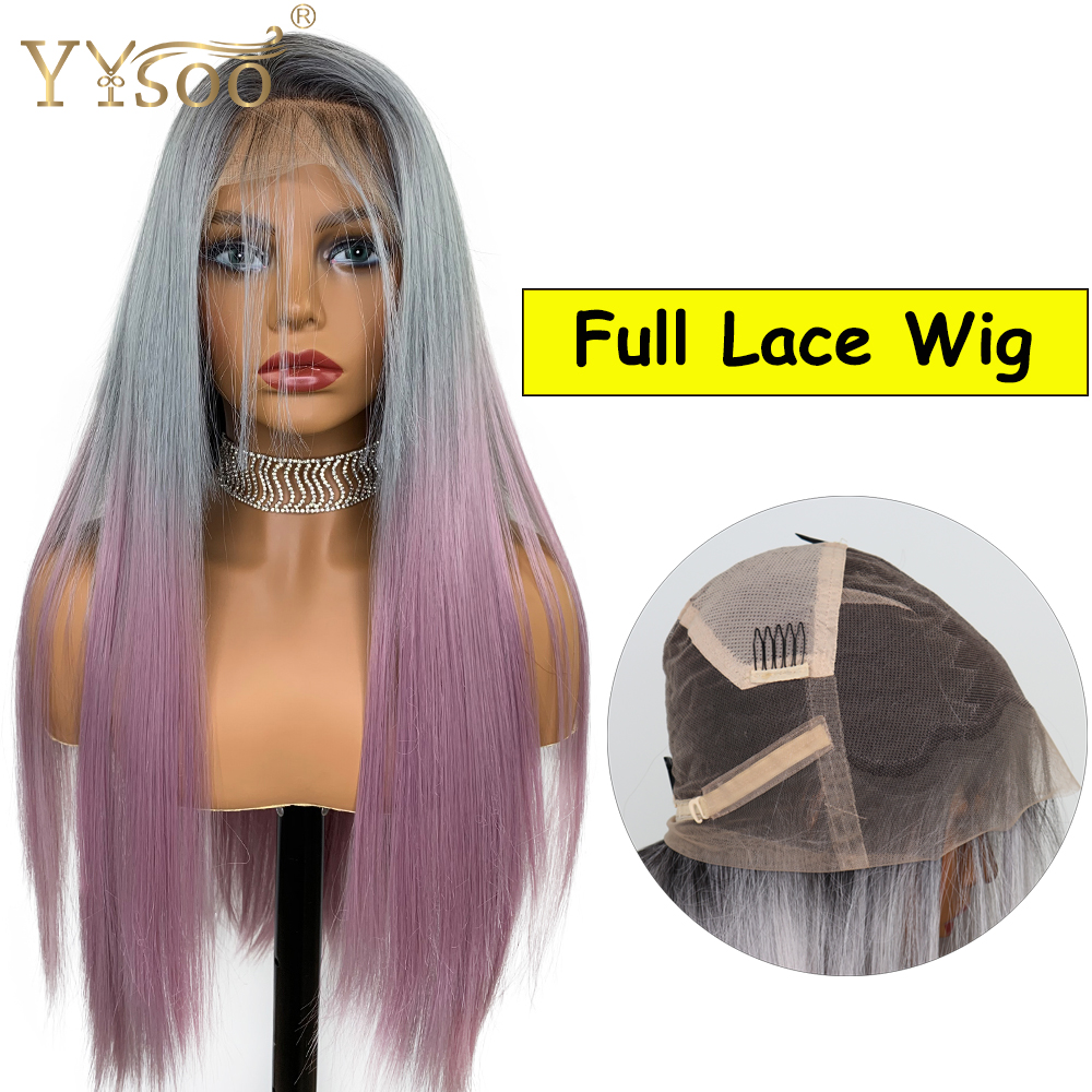 YYsoo Synthetic Full Lace Wigs #2/Grey/Purple 3T Ombre Japan Heat Resistant Hair Fiber Synthetic Lace Wigs Black Women Baby Hair