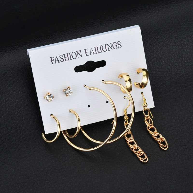 Hot Sale 12 Pair/set Women Square Crystal Heart Hoop Earrings for Women Piercing Simulated Pearl Flower Earrings