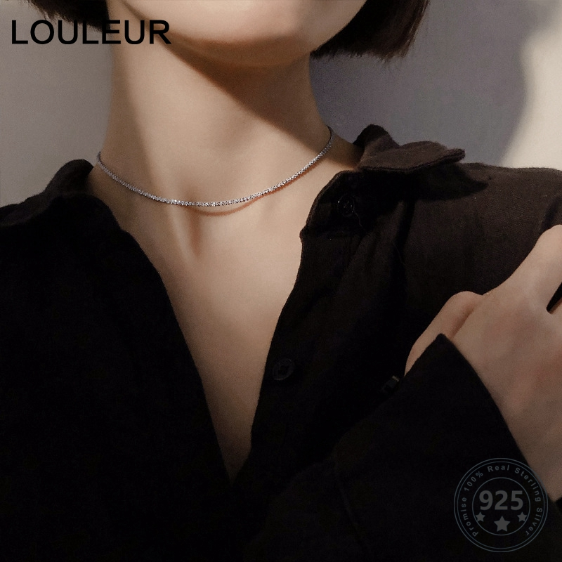 Louleur Real 925 Sterling Silver Gypsophila Necklace Elegant Sexy Choker Party Necklace For Women Luxury Designer Jewelry Charm