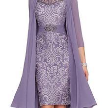 С курткой платья для матери невесты шифоновые аппликации с бисером Короткое свадебное платье для матери на свадьбу