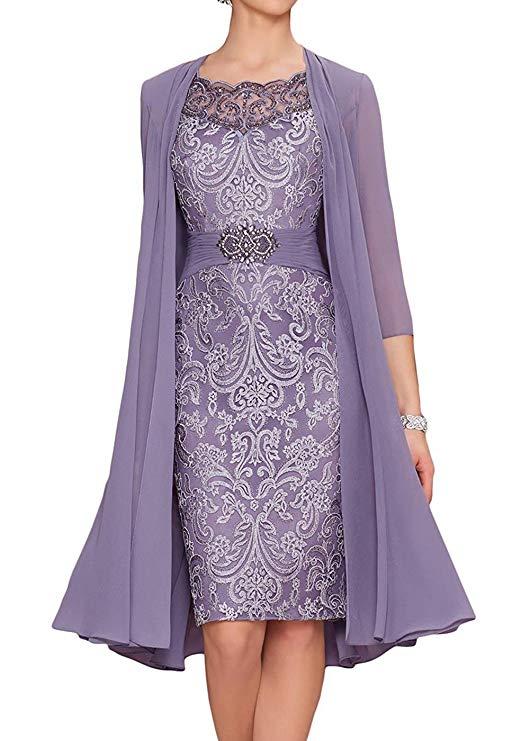 Avec veste 2019 mère de la mariée robes gaine en mousseline de soie Appliques perlée courte robe de mariée robe de mère pour le mariage