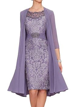 With Jacket Mother Of The Bride Dresses Sheath Chiffon Appliques Beaded Short Wedding Party Dress For - discount item  10% OFF Wedding Party Dress