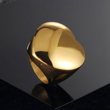 2020 New Fashion Gold Large Rings for Women Party Jewelry Big Heart Cocktail Ring 316L Titanium Stainless Steel Anillos Mujer