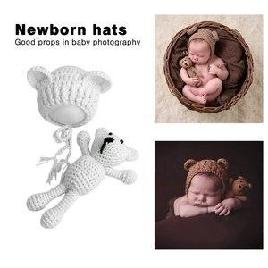 Bonito gorro tejido de bebé para bebé, gorros de ganchillo con conjunto de muñecos de juguete para recién nacidos, accesorios de fotografía conjunto de ropa, disfraz