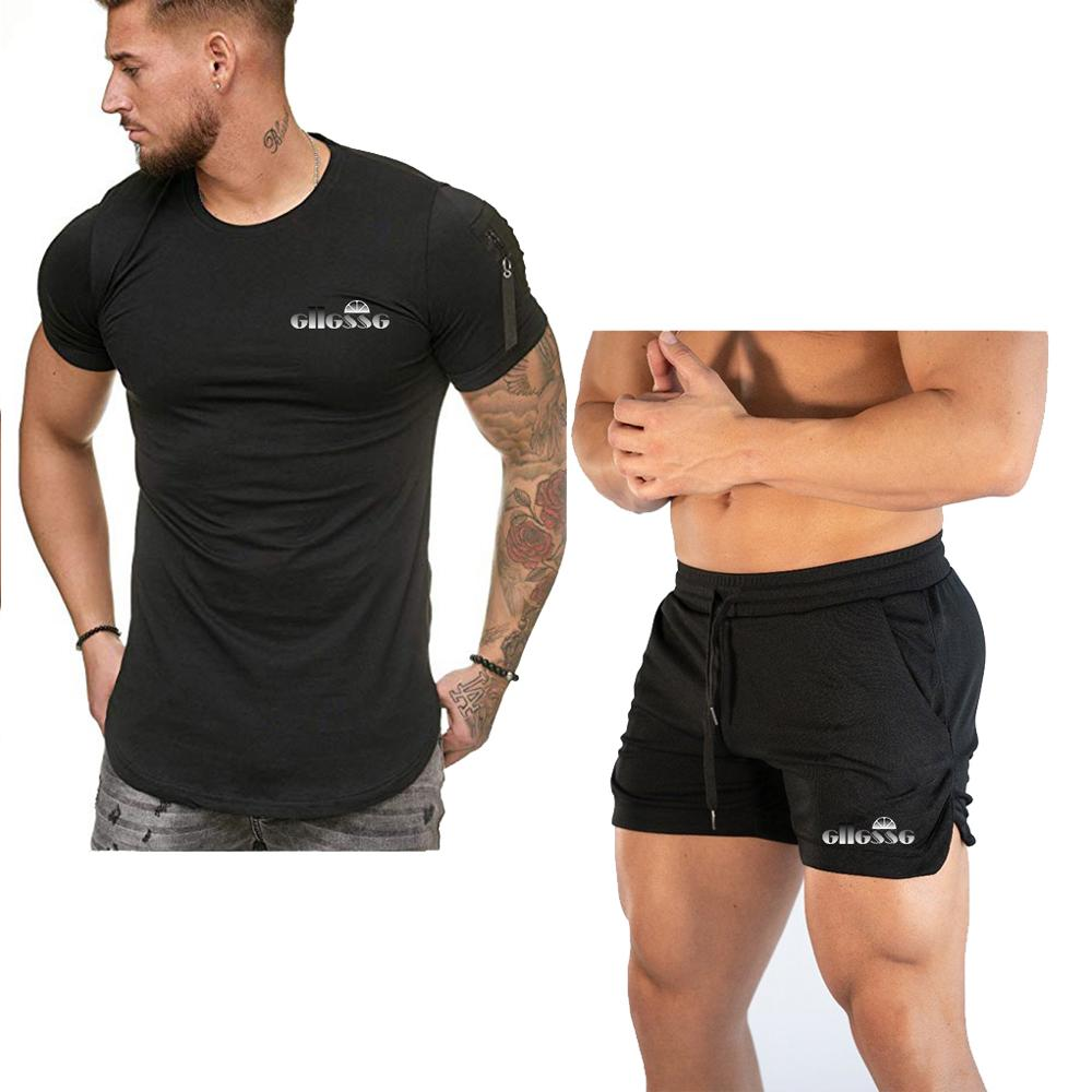 Tracksuit Men New Breathable Summer Hot Sale Men's Sets T Shirts+shorts Two Pieces Sets Casual Tracksuit Male O-Neck Sportswear
