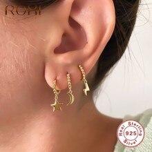 ROXI – boucles d'oreilles rondes en forme de lune pour femmes et filles, bijoux de Cartilage, en argent Sterling 925