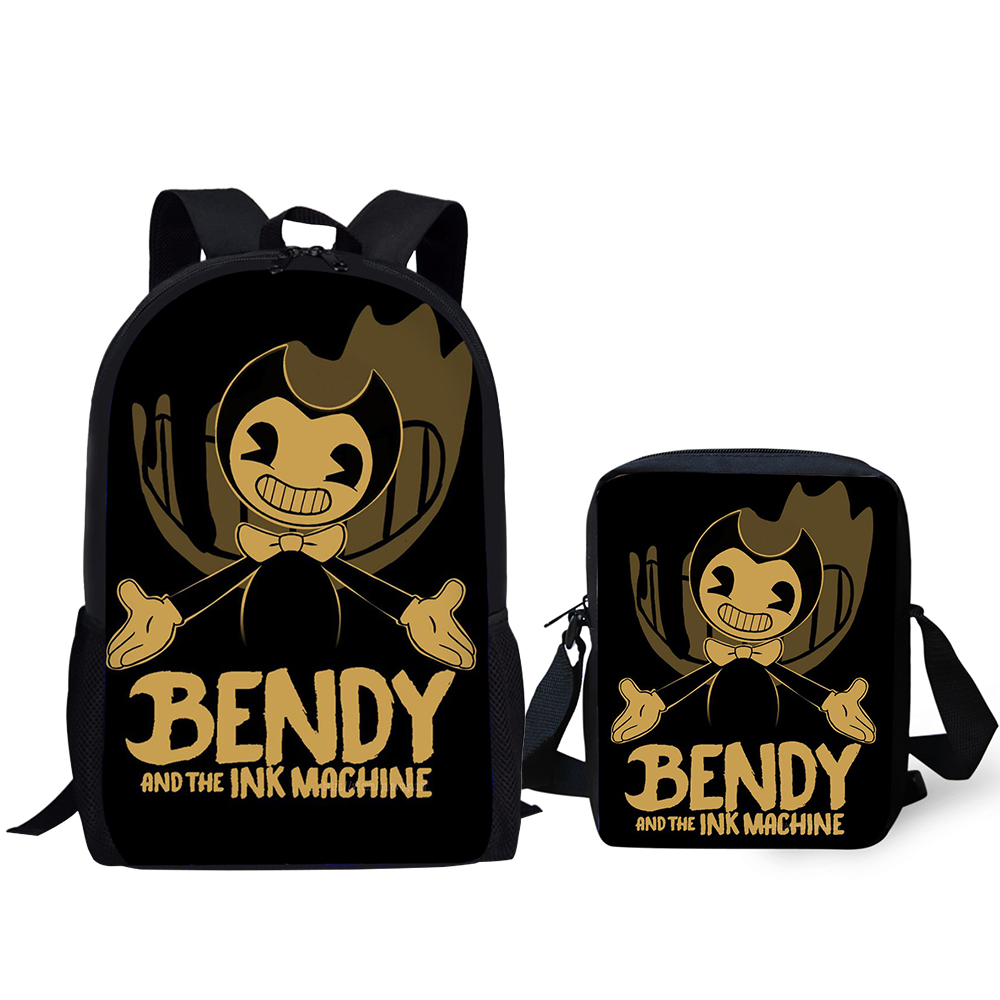 HaoYun 2PC Set Children 39 s Backpack Bendy and the Ink Machine School Bags Gothic Design Teens Shoulder Book Bags Set Mochila in School Bags from Luggage amp Bags