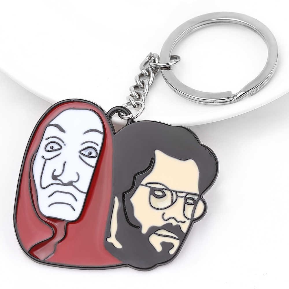 เคลือบพจนานุกรม Casa De Papel พวงกุญแจบ้านเงินกระดาษ Heist ตลก Keychains ผู้หญิงผู้ชาย Key ผู้ถือแหวนกุญแจตกแต่ง