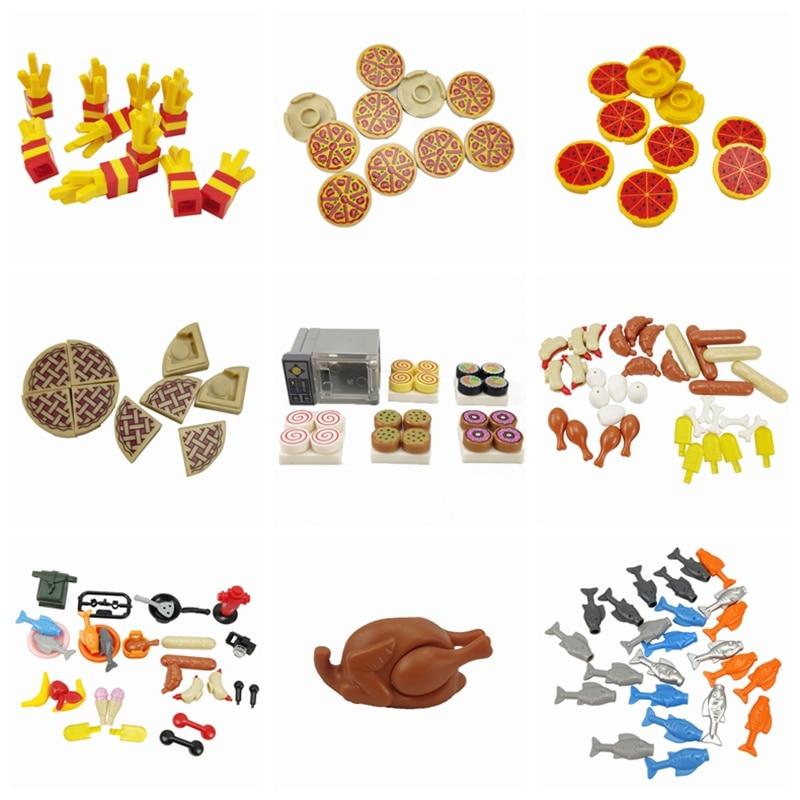 Конструктор MOC Parts детский классический, еда, картофель фри, пицца, хлеб, обжарка, курица, игрушки для детей