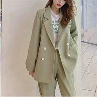Alien Kitty 2019 Hot Green Elegant Autumn Office Ladies Blazers+Straight Pants Feminine Suits All Match Women Two Pieces Sets