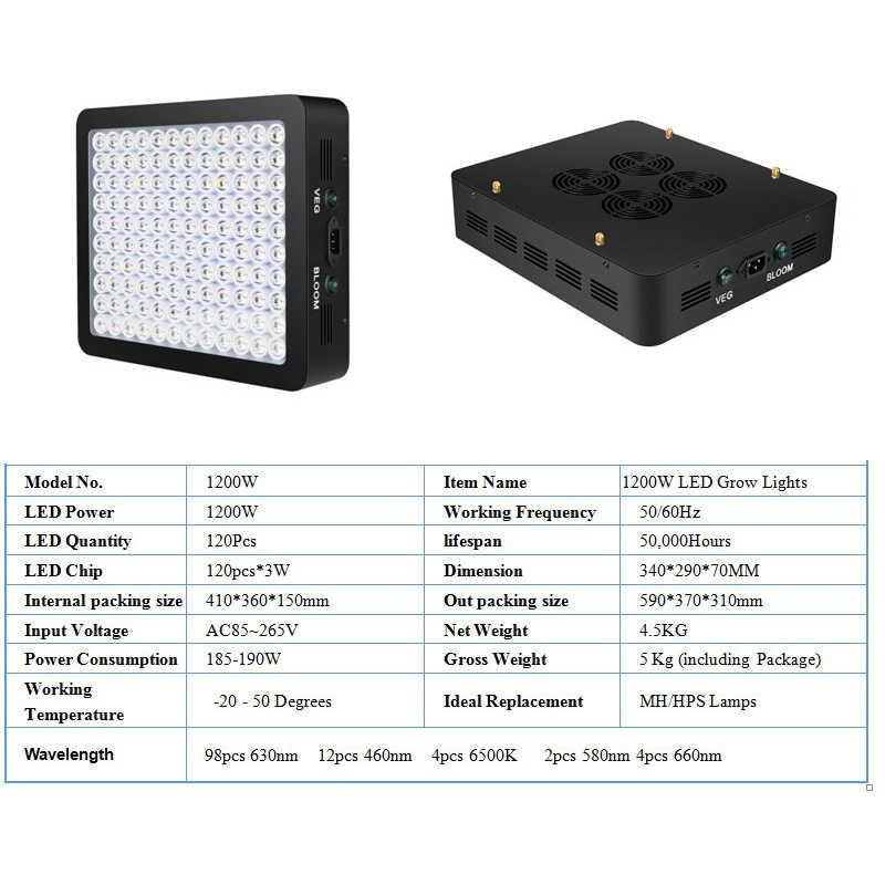 Crescere Lampade A LED Coltiva La Luce 1200W AC85-265V Spettro Completo Impianto di Illuminazione Per Le Piante Fiori Piantina Coltivazione