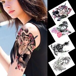 Водонепроницаемая Временная тату-наклейка в японском стиле, сексуальная девушка, меч, цветы, тату, флэш-тату, поддельные татуировки для женщ...