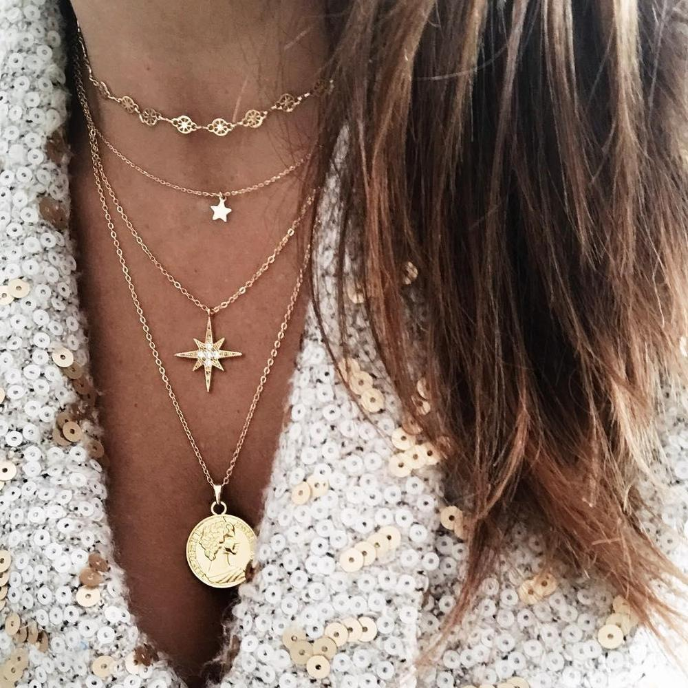 Fashion Multiple Layer Gold Chain Necklace Women's Geometric Butterfly Letter Coin Cross Flower Pendant Gold Necklace For Women