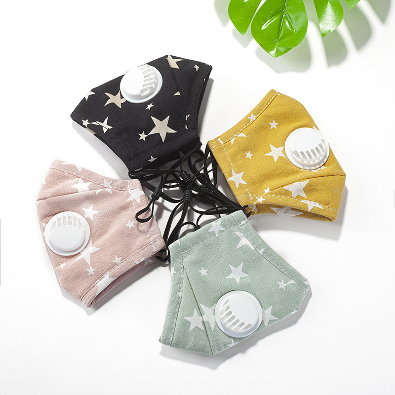 Star Print Mask With Valves Filters For Women Men Outdoor Dust-proof Windproof Anti-fog Face Mask Washable Reusable Mouth Masks