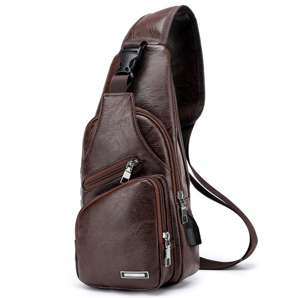 Chest Bag Messenger Sports Leather Men USB Cross Body Single Shoulder Casual