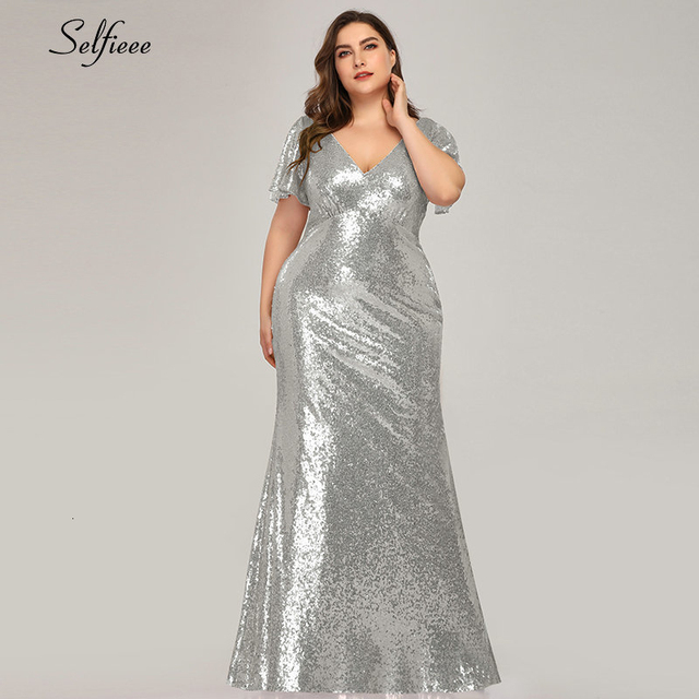 Plus Size Rose Gold Mermaid Women Dresses Short Sleeve Sequined V-Neck Bodycon Elegant Maxi Dresses For Party Robe Femme 2020 4