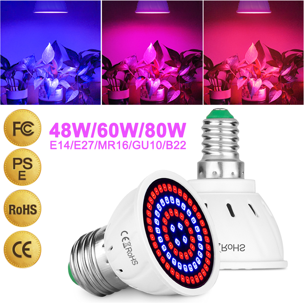 48LEDs/60LEDs/80LEDs MR16 Phyto Lamp  Plant Light E27 LED Grow Light GU10 Fitolamp E14 LED Lamp For Plants