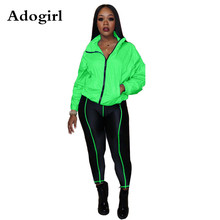 Adogirl Fluorescent Color 2 Piece Suit Long Sleeve Turn Down Collar Blazer +Skinny Pants Women Tracksuit Athleisure Plus Size