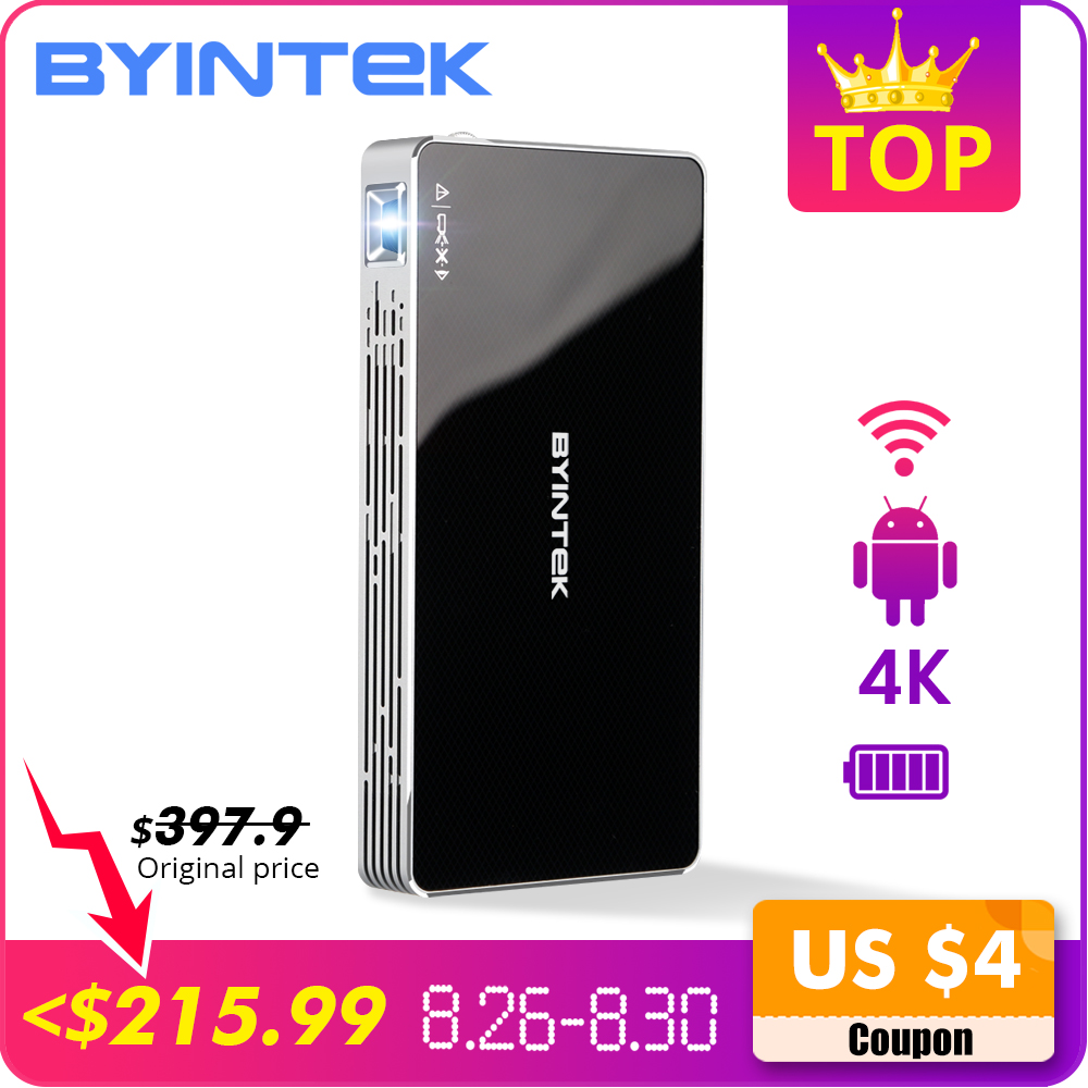 BYINTEK UFO P10 poche Home cinéma Portable intelligente Android 7.1.2 OS Wifi Mini HD projecteur LED pour Full HD1080P MAX 4K à HD