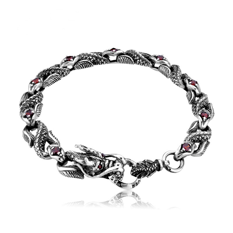Hommes 925 argent dragon bracelet avec pierre rouge style chinois mode bijoux fins comme cadeau