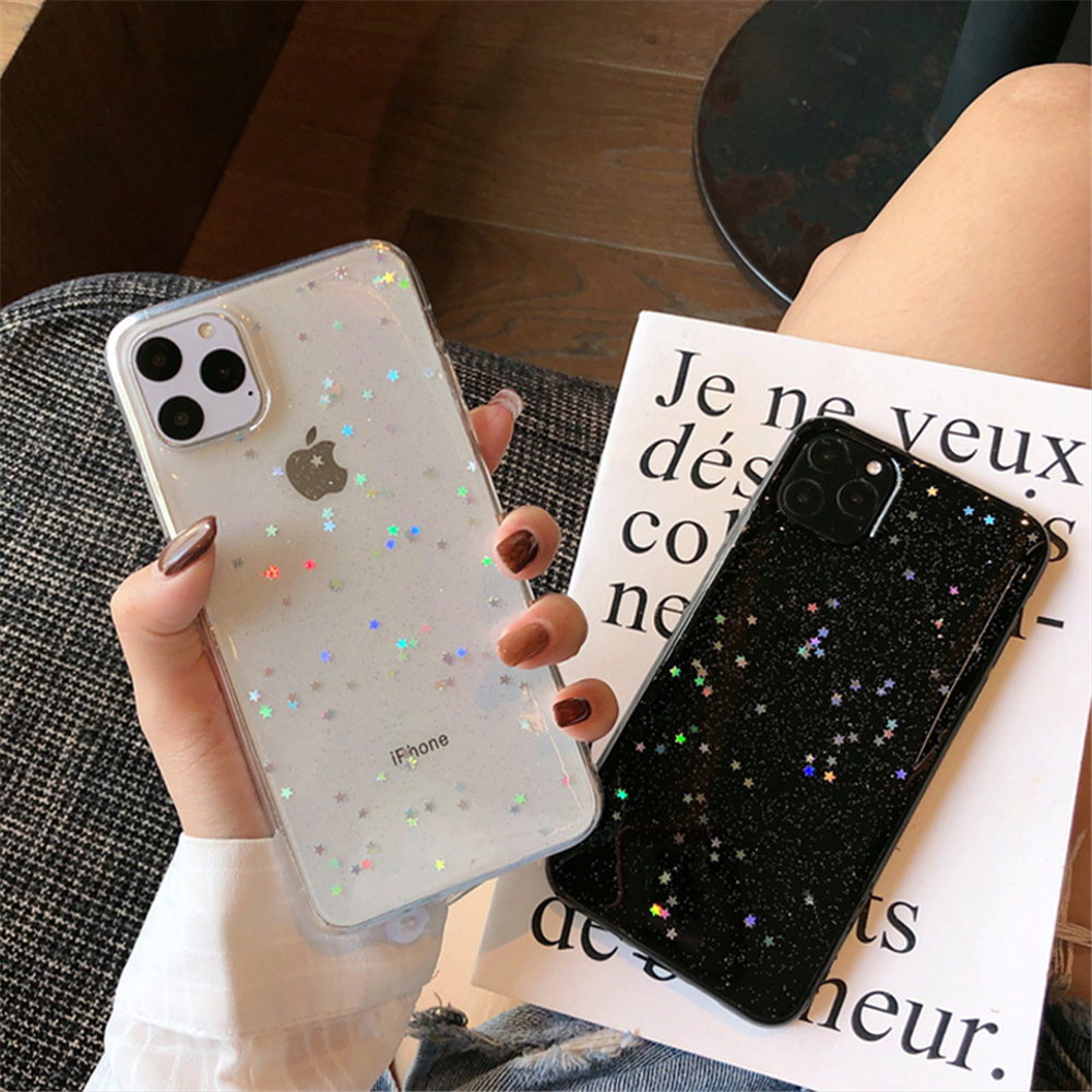 H0faba34289d74d52bc76254915bb8e66z - Ottwn Bling Stars Glitter Soft TPU Phone Case For iPhone 11 Pro X XR XS Max 7 8 6 6s Plus SE 2020 Transparent Powder Back Cover