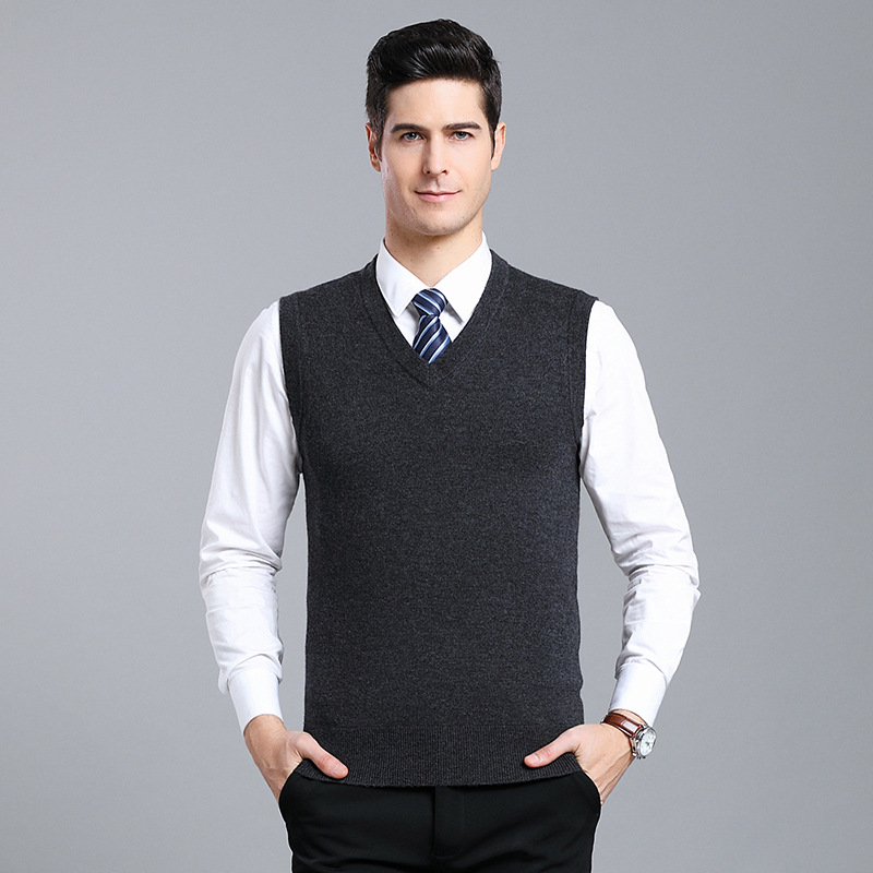Men 6.5% Wool Knitted Vest V-neck Korean-style Waistcoat Slim Fit Yarn Waistcoat Men Solid Color Sleeveless Sweater