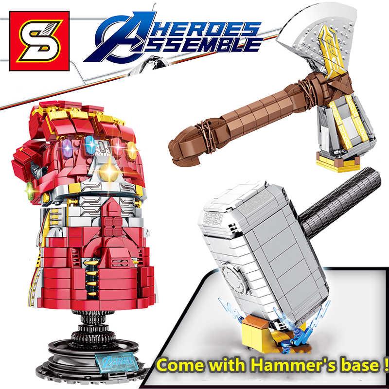 Compatibile legoed Marvel 4 Infinity pietra Guanto di Sfida super hero building block set Thor Quake Martello modle tempesta breaker