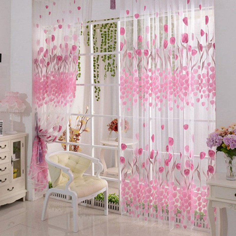 Colorful Pink Tulip Sheer Curtains Voile Tulle For Kitchen Living Room Bedroom Window Treatment Screening Drapes Home Decoration