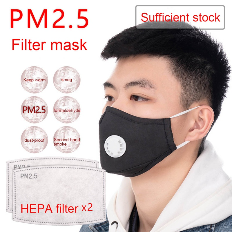 1 PC Adult Cotton Mouth Mask With 2  PM2.5 Anti-fog Filter Women Men Black Dustproof Facial Cover Breathable Face Mask Dropship