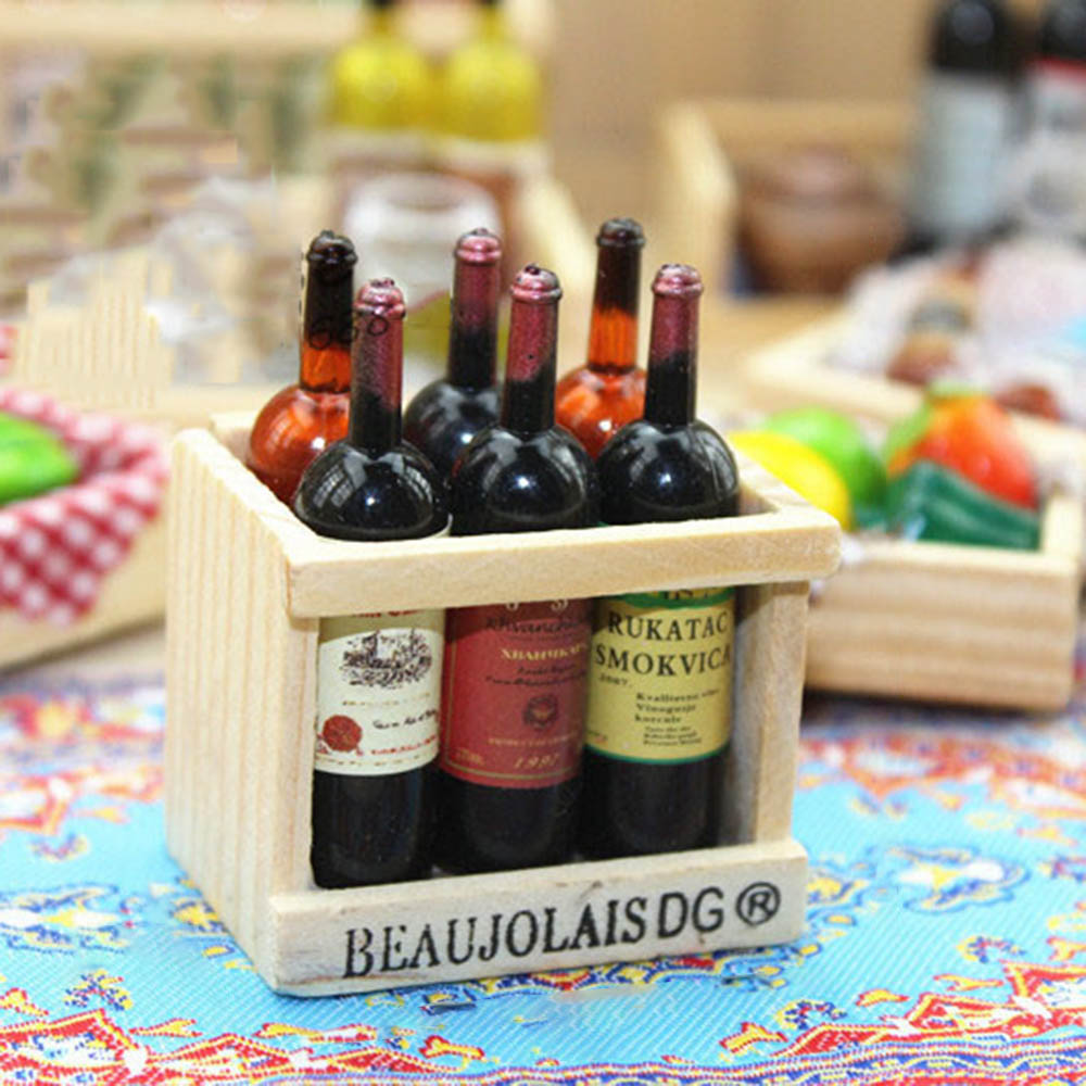 1Pcs 1/12 Dollhouse Miniature Accessories Mini Wine Bottle Set With Box Simulation Drinks Model Toys For Doll House Decoration