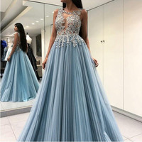 New Arrival Sky Blue Women Long Evening Formal Dresses abendkleider Applique Pleated Prom gowns Sexy Open Back Party robe soiree