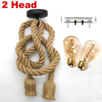 Retro Hemp Rope Pendant Light AC90-260V Vintage E27 LED Light Bulb Pendant Lamp Industrial Lamp Loft Home For Decor HangLamp 8