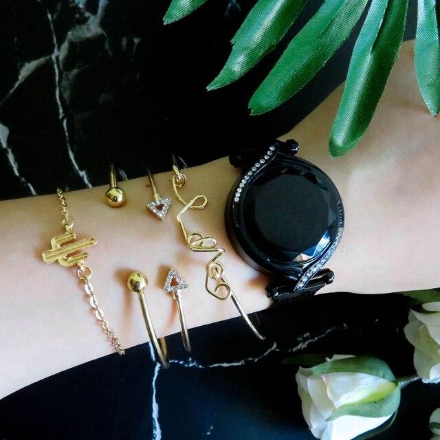 De Lujo Led rojo esfera Digital relojes de mujer Simple pulsera de las señoras vestido magnética reloj de cuarzo de lujo conjunto regalo envío de la gota 6