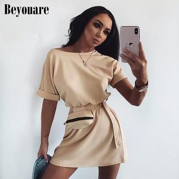цена на Beyouare O-Neck Self Belted Hem Dress Women Summer Solid Straight Pocket Casual Short Sleeve High Waist Female Elegant Dresses