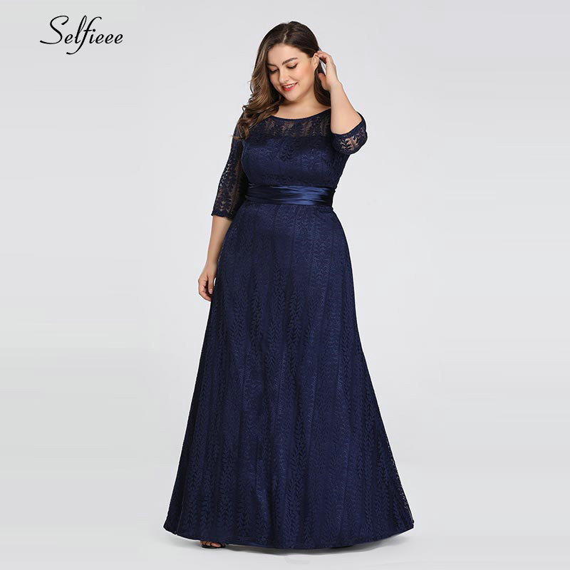 Elegant A Line Grey Lace Party Dress Women 2020 New Spring Elegant O Neck Half Sleeve Plus Size Dress Long Maxi Dress Robe Femme 4