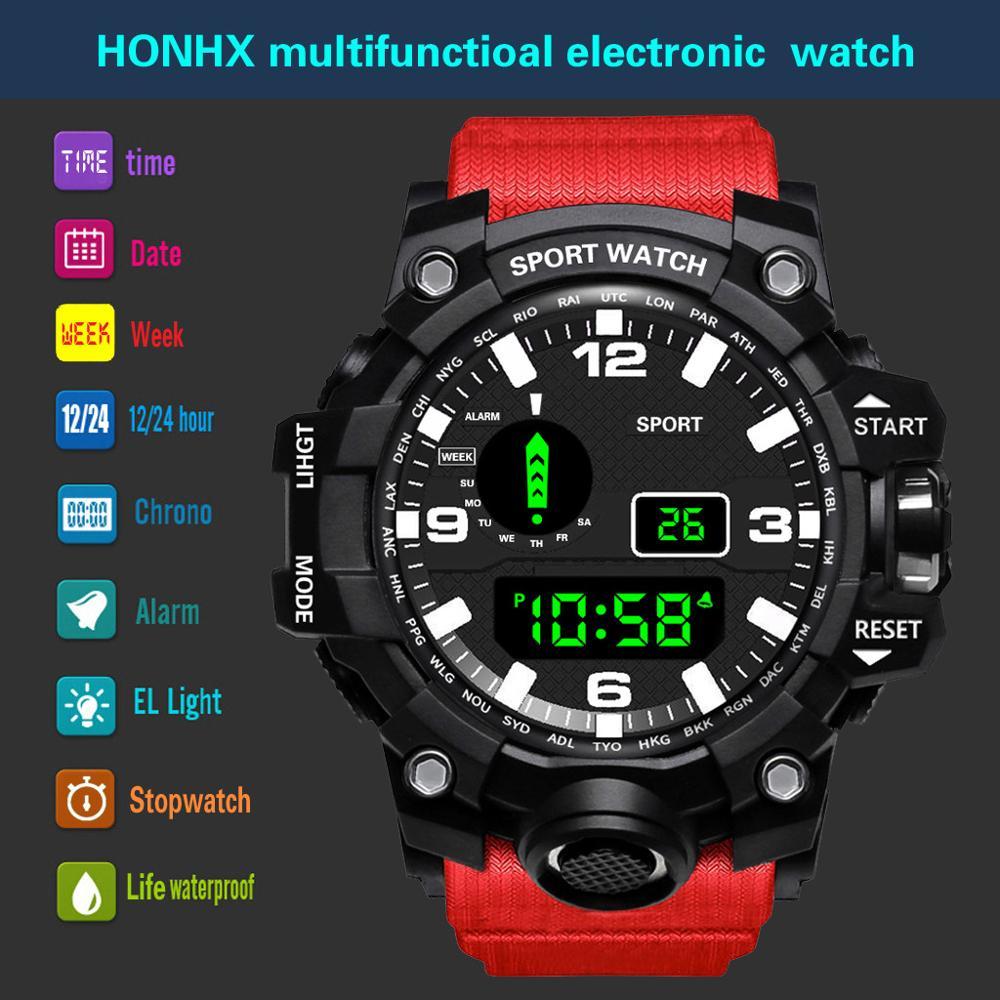 Fashion Mens Watches Waterproof Men's Boy LCD Digital Stopwatch Date Rubber Sport Wrist Watch Waterproof Relogio Clock Reloj Q7